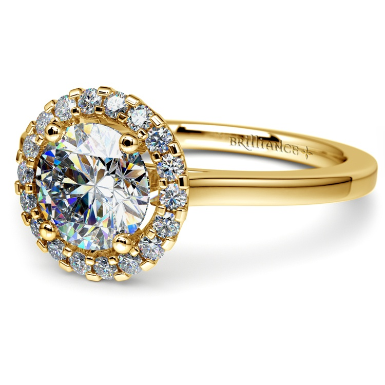 Pave Halo Diamond Engagement Ring in Yellow Gold  | 04
