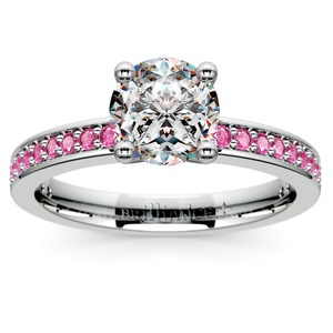 Pave Pink Sapphire Gemstone Engagement Ring in Platinum