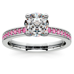 Pave Pink Sapphire Gemstone Engagement Ring in White Gold | Thumbnail 01