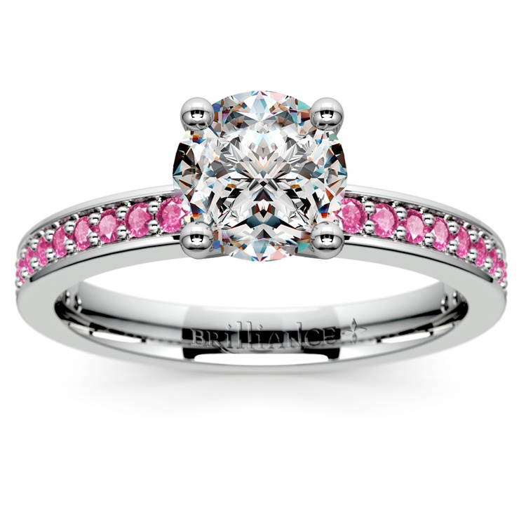 Pave Pink Sapphire Gemstone Engagement Ring in White Gold | 01