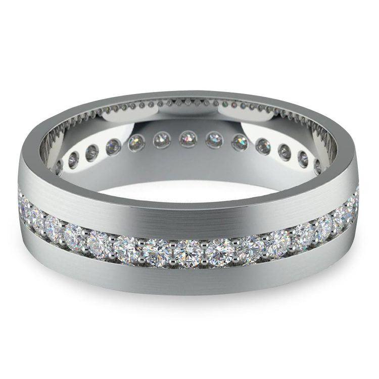 Pave Platinum Diamond Eternity Men's Engagement Ring | 01