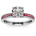 Pave Ruby Gemstone Engagement Ring in White Gold | Thumbnail 01