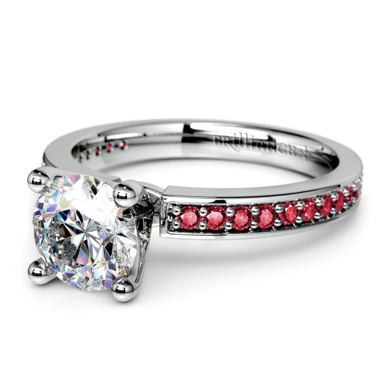 Pave Ruby Gemstone Engagement Ring in White Gold   04