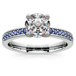 Pave Sapphire Gemstone Engagement Ring in Platinum | Thumbnail 01