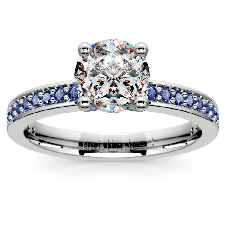Pave Sapphire Gemstone Engagement Ring in Platinum | 01