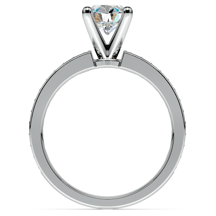 Pave Sapphire Gemstone Engagement Ring in White Gold   02