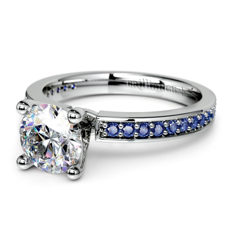 Pave Sapphire Gemstone Engagement Ring in White Gold   04