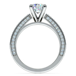 Pave Three Sided Diamond Engagement Ring in White Gold (1/2 ctw) | Thumbnail 02