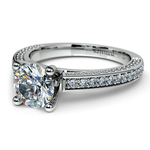 Pave Three Sided Diamond Engagement Ring in White Gold (1/2 ctw) | Thumbnail 04