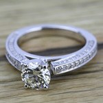 Pave Three Sided Diamond Engagement Ring in White Gold (1/2 ctw) | Thumbnail 05