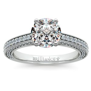 Pave Three Sided Diamond Engagement Ring in White Gold (1/2 ctw)