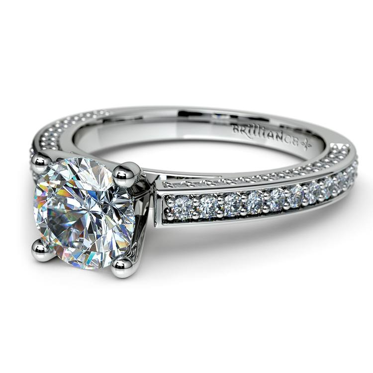 Pave Three Sided Diamond Engagement Ring in White Gold (1/2 ctw) | 04