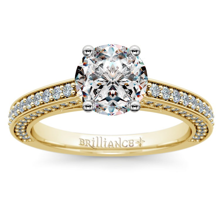 Pave Three Sided Diamond Engagement Ring in Yellow Gold (1/2 ctw) | 01