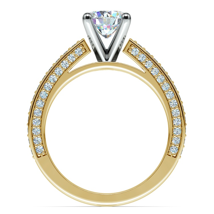 Pave Three Sided Diamond Engagement Ring in Yellow Gold (1/2 ctw) | 02