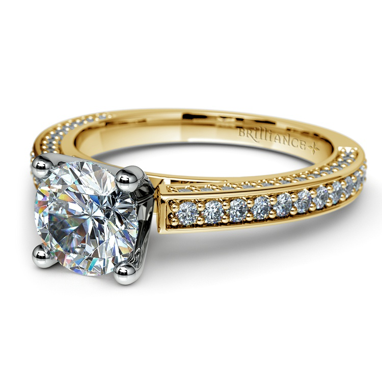 Pave Three Sided Diamond Engagement Ring in Yellow Gold (1/2 ctw) | 04