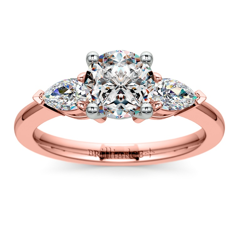 Pear Diamond Engagement Ring in Rose Gold (1/2 ctw) | 01