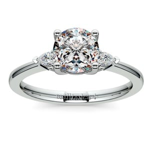 Pear Diamond Engagement Ring in White Gold (1/4 ctw)