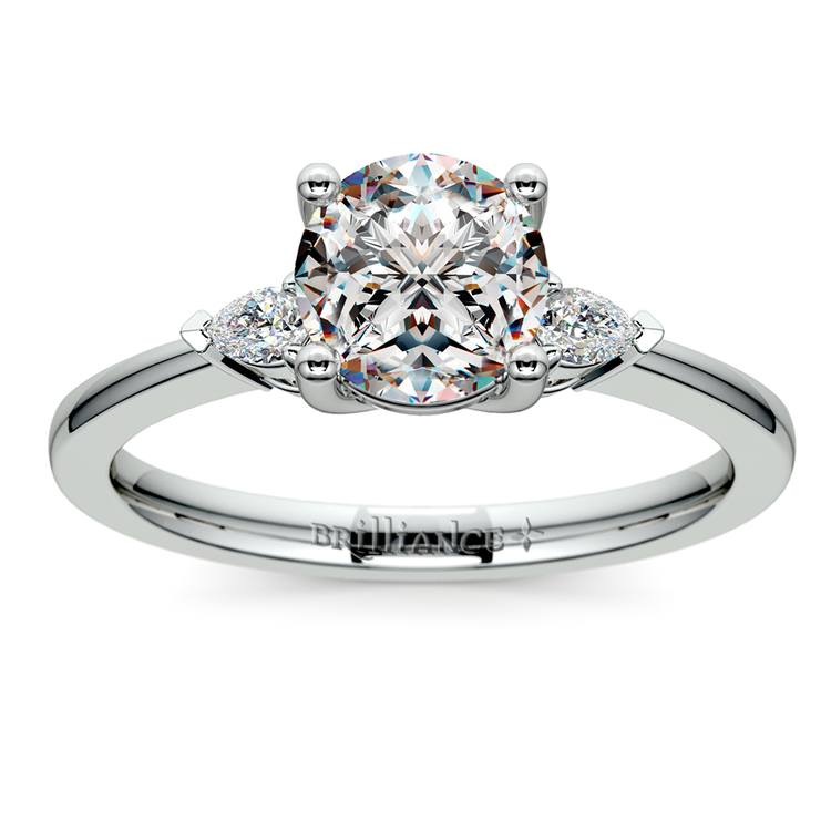 Pear Diamond Engagement Ring in White Gold (1/4 ctw) | 01