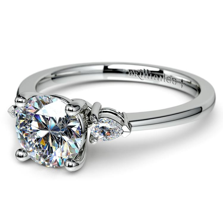 Pear Diamond Engagement Ring in White Gold (1/4 ctw) | 04