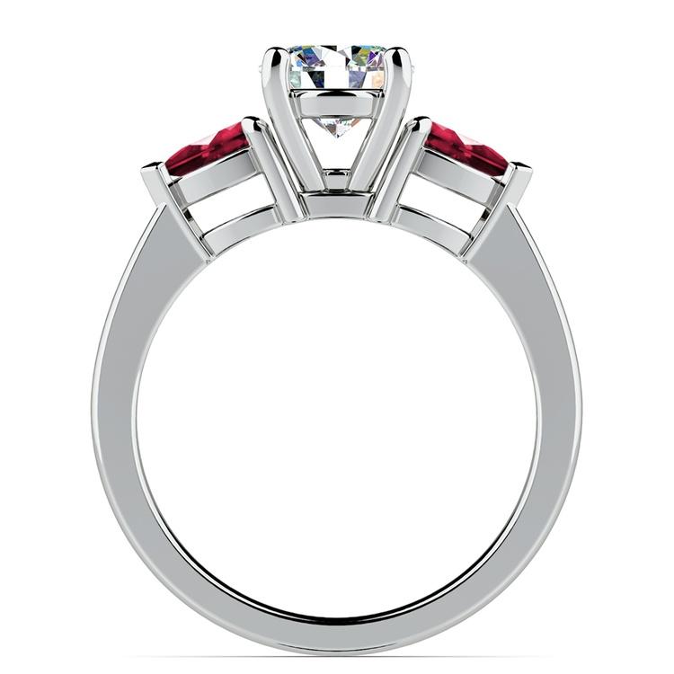 Pear Ruby Gemstone Engagement Ring in Palladium | 02