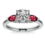 Pear Ruby Gemstone Engagement Ring in White Gold | Thumbnail 01