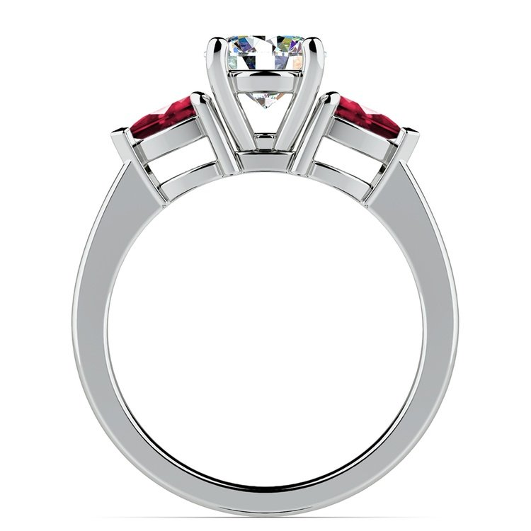 Pear Ruby Gemstone Engagement Ring in White Gold | 02