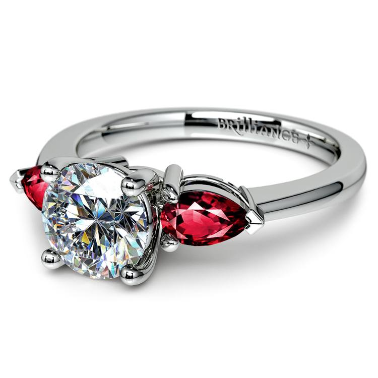 Pear Ruby Gemstone Engagement Ring in White Gold | 04