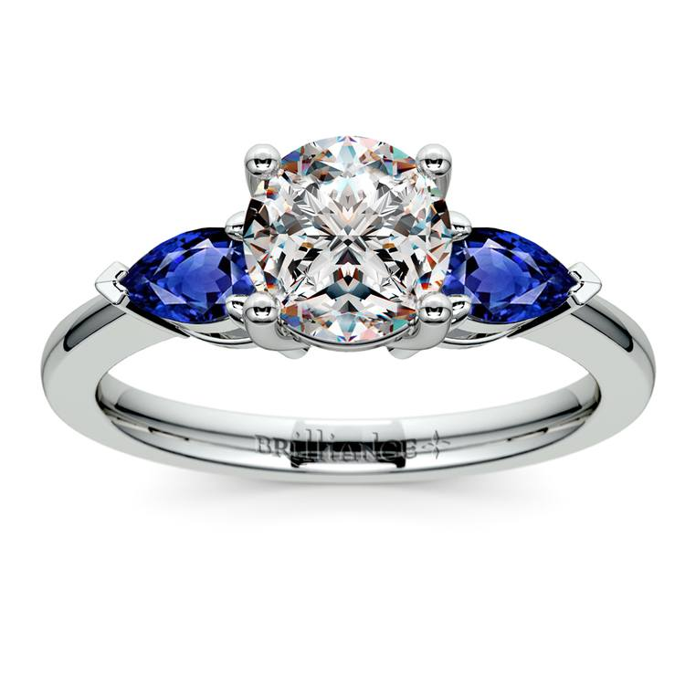 Pear Sapphire Gemstone Engagement Ring in Palladium | 01