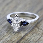 Pear Sapphire Gemstone Engagement Ring in White Gold | Thumbnail 05