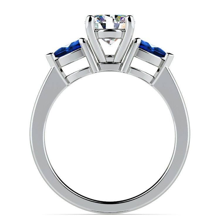 Pear Sapphire Gemstone Engagement Ring in White Gold | 02
