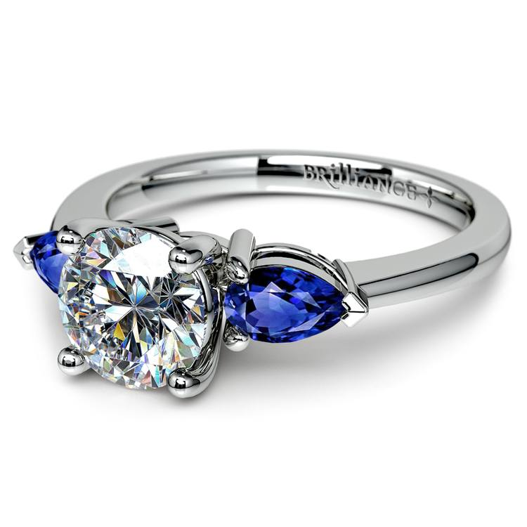 Pear Sapphire Gemstone Engagement Ring in White Gold | 04