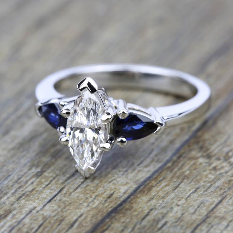 Pear Sapphire Gemstone Engagement Ring in White Gold | 05