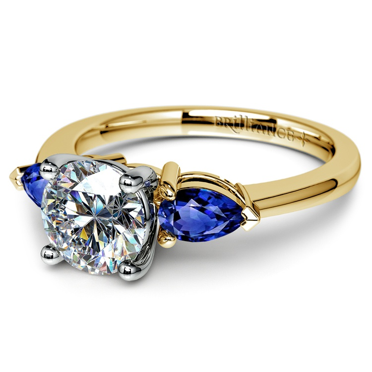Pear Sapphire Gemstone Engagement Ring in Yellow Gold | 04