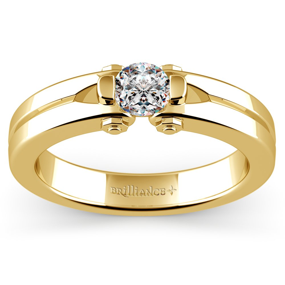 Perses Solitaire Mangagement™ Ring In Yellow Gold (1/2 Ctw