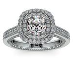 Petal Filigree Double Halo Diamond Engagement Ring in Platinum | Thumbnail 01