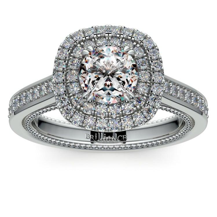 Petal Filigree Double Halo Diamond Engagement Ring in Platinum | 01