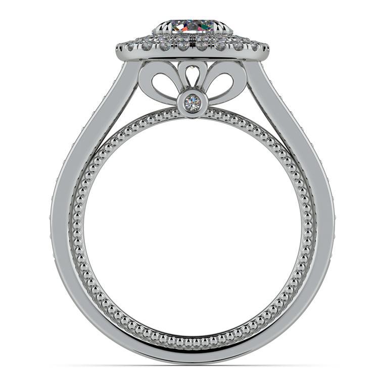 Petal Filigree Double Halo Diamond Engagement Ring in Platinum | 02
