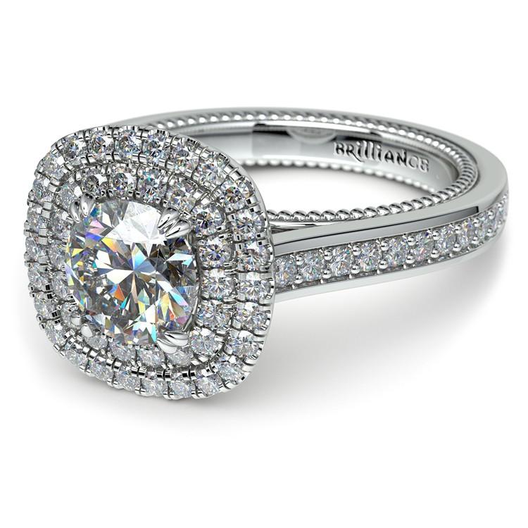 Petal Filigree Double Halo Diamond Engagement Ring in Platinum | 04