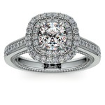 Petal Filigree Double Halo Diamond Engagement Ring in White Gold | Thumbnail 01