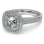 Petal Filigree Double Halo Diamond Engagement Ring in White Gold | Thumbnail 04