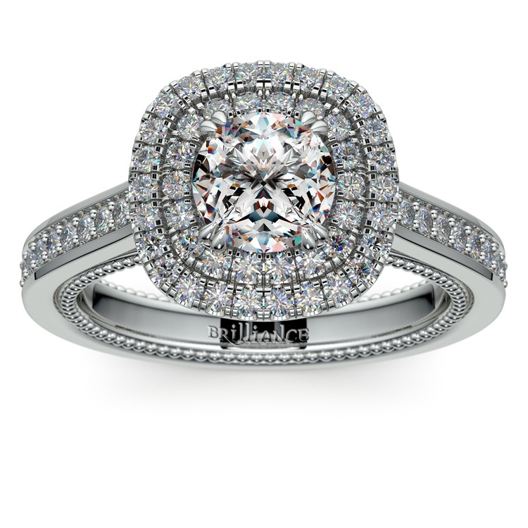 Petal Filigree Double Halo Diamond Engagement Ring in White Gold | 01
