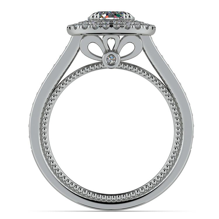 Petal Filigree Double Halo Diamond Engagement Ring in White Gold | 02