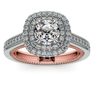 Petal Filigree Double Halo Diamond Engagement Ring In White & Rose Gold