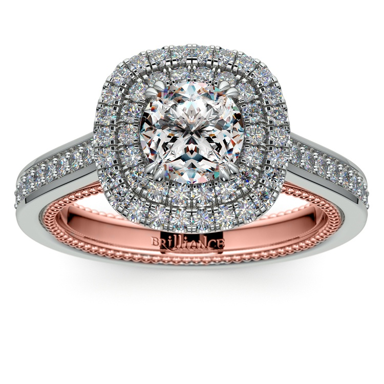 Petal Filigree Double Halo Diamond Engagement Ring In White & Rose Gold | 01