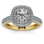 Petal Filigree Double Halo Diamond Engagement Ring in White & Yellow Gold | Thumbnail 01