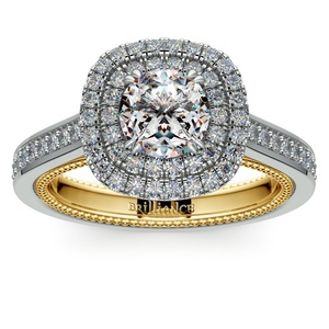 Petal Filigree Double Halo Diamond Engagement Ring in White & Yellow Gold