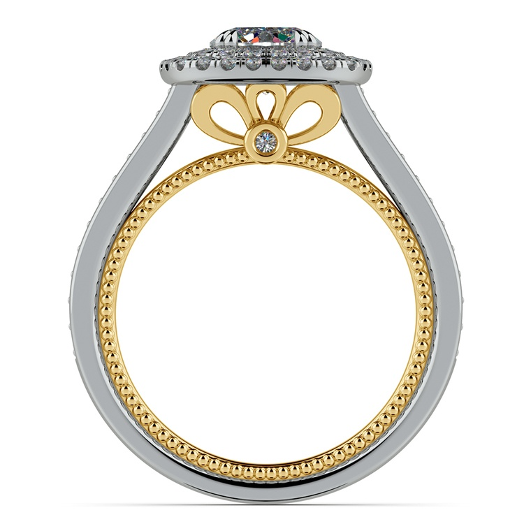 Petal Filigree Double Halo Diamond Engagement Ring in White & Yellow Gold | 02