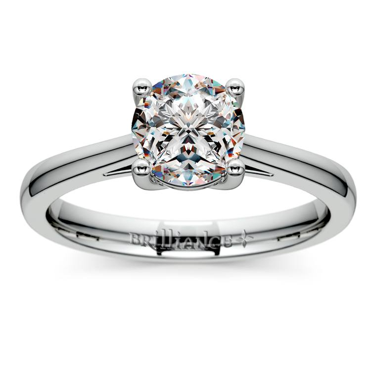 Petite Cathedral Solitaire Engagement Ring in Platinum | 01