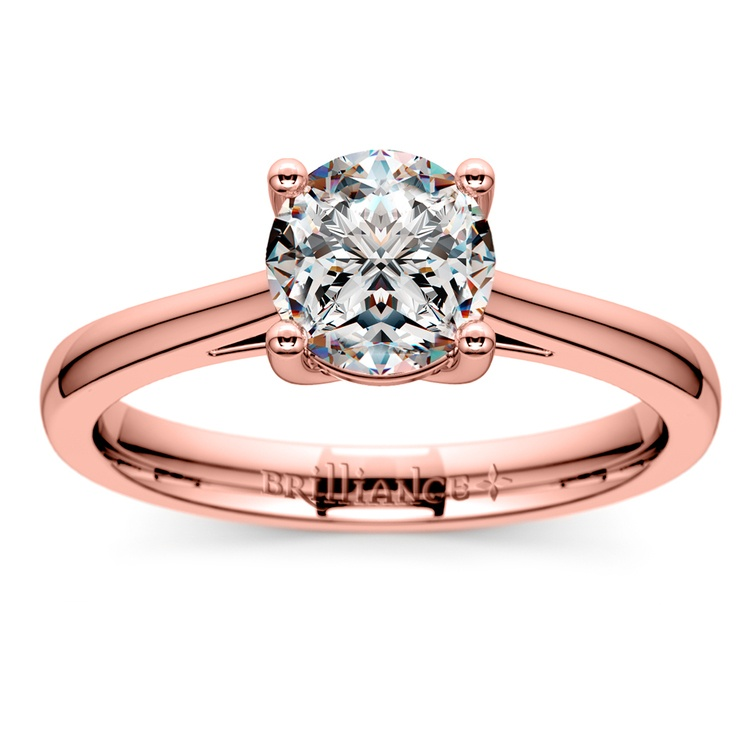 Petite Cathedral Solitaire Engagement Ring in Rose Gold | 01