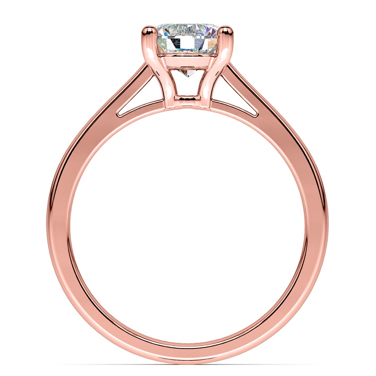 Petite Cathedral Solitaire Engagement Ring in Rose Gold | 02